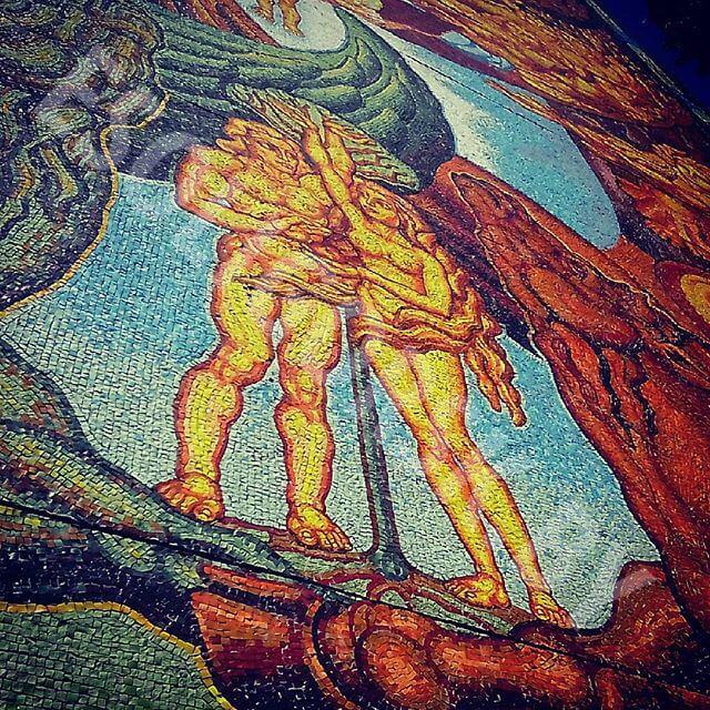 Мозаика на доме в Солигорске